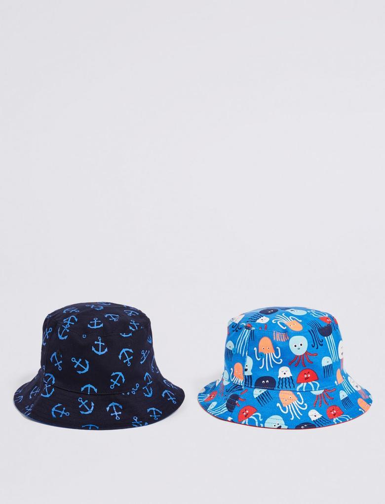 Mavi Kids' 2'li Saf Pamuklu Şapka