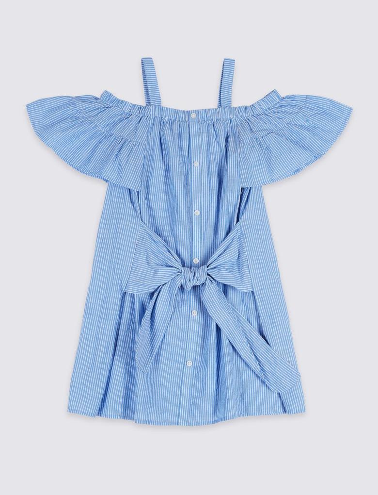 Saf Pamuklu Çizgili Elbise