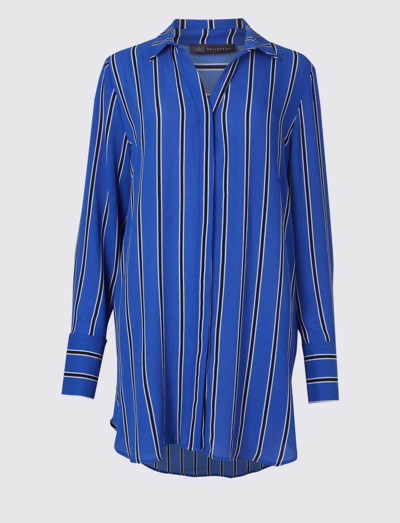 Çizgili Uzun Kollu Gömlek