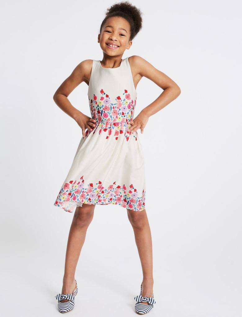 Kız Çocuk Beyaz Çiçek Desenli Saf Pamuklu Elbise