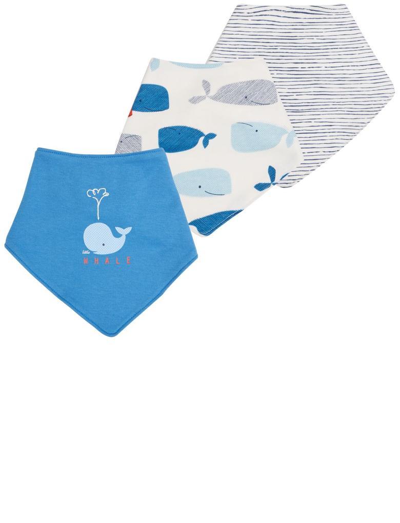 Mavi 3'lü Saf Pamuklu Mama Önlüğü