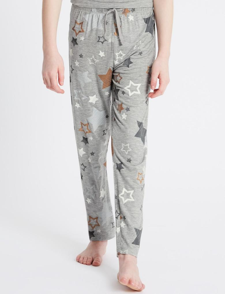 Beyaz Yıldız Desenli Pijama Takımı