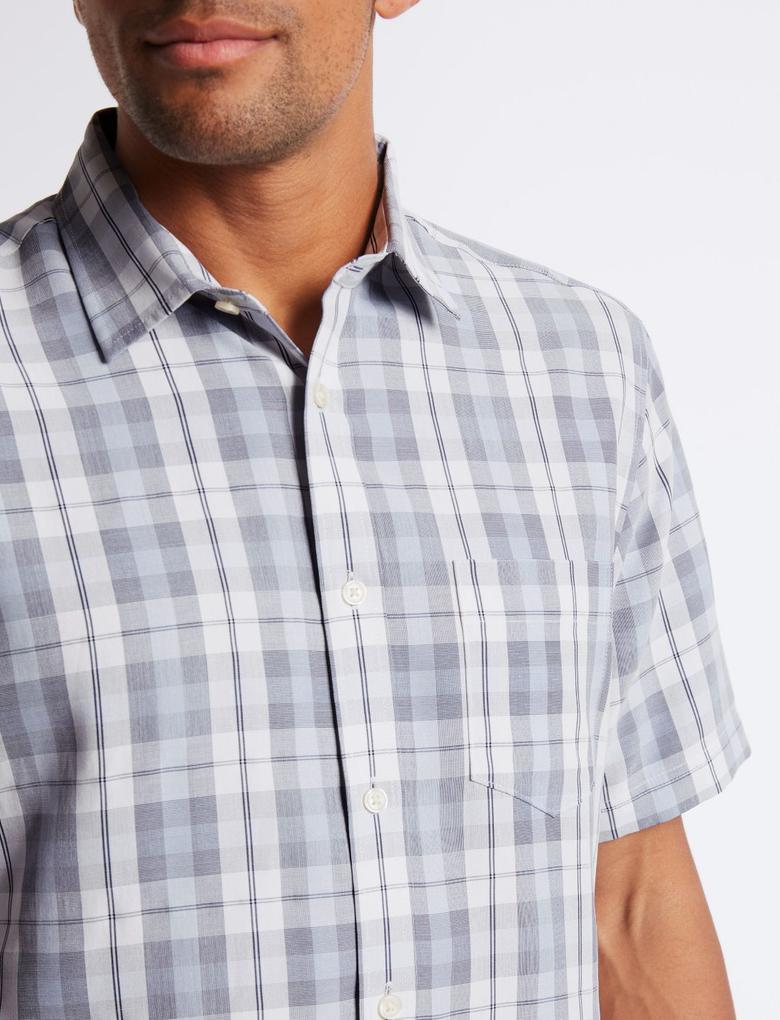 Mavi Modal Karışımlı Ekose Gömlek