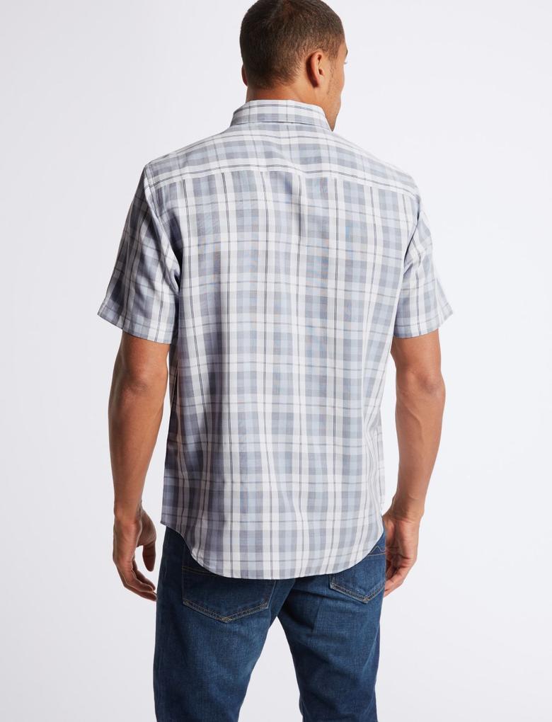 Modal Karışımlı Ekose Gömlek