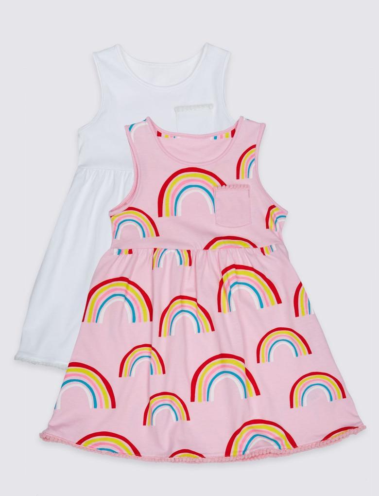 Kız Çocuk Pembe 2'li Saf Pamuklu Elbise