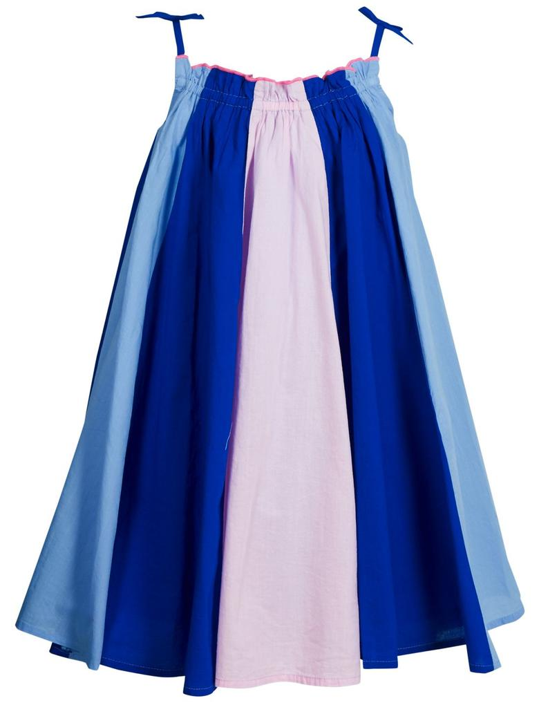 Mavi Saf Pamuklu Çizgili Elbise