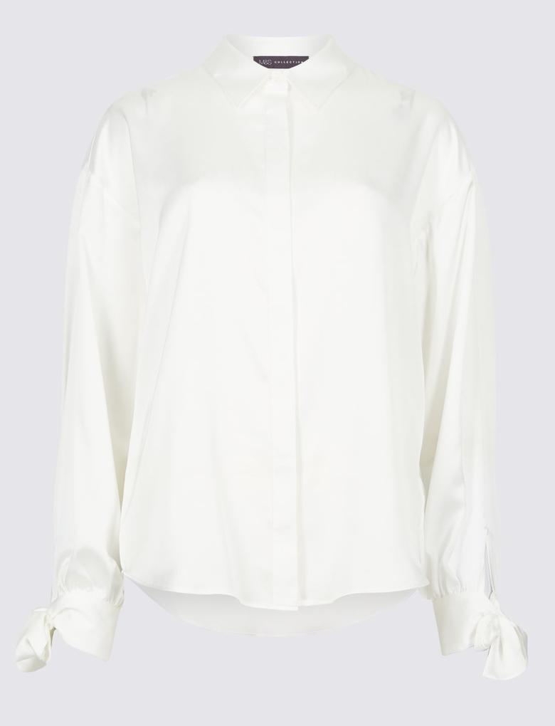 Bej Uzun Kollu Gömlek