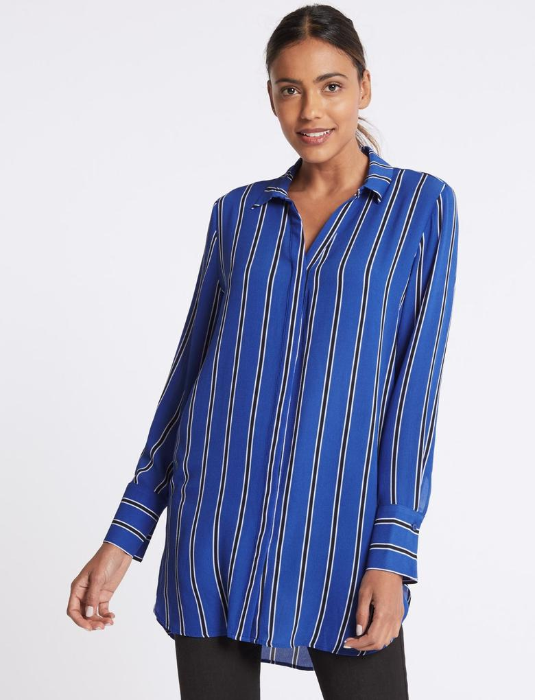 Mavi Çizgili Uzun Kollu Gömlek
