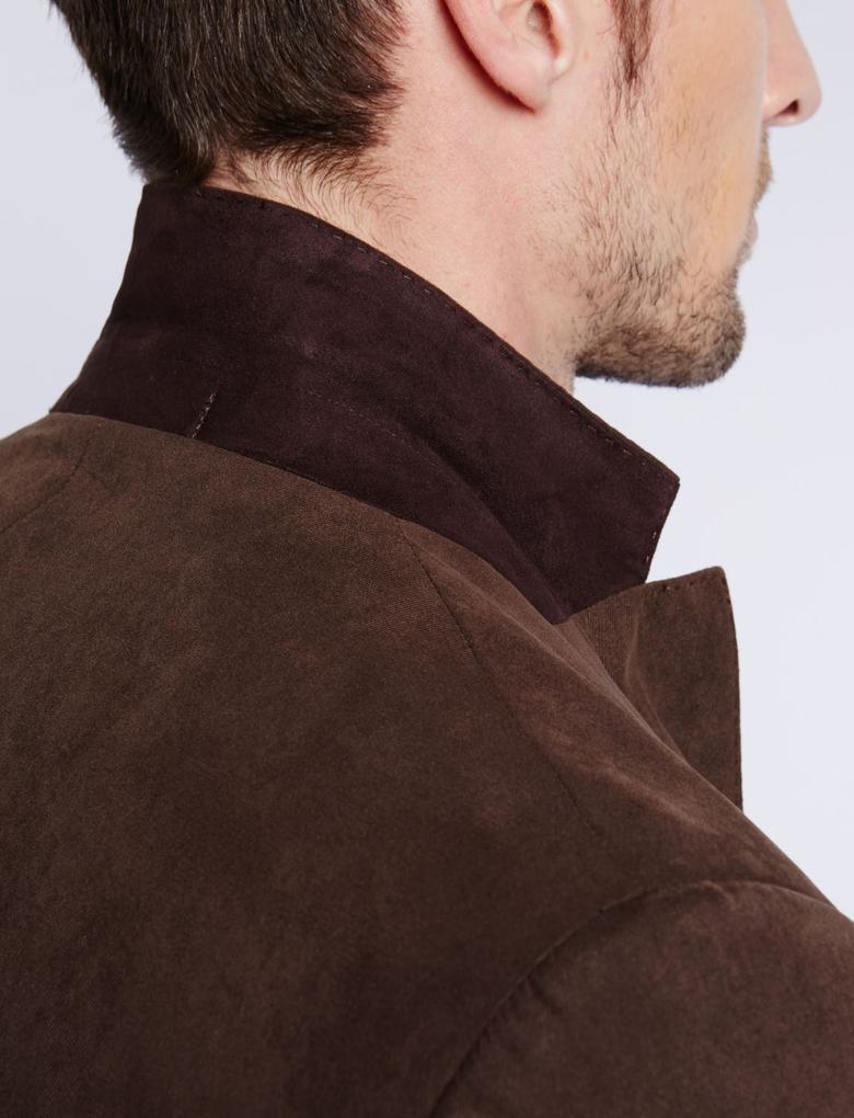 Kahverengi Çift Düğmeli Süet Ceket