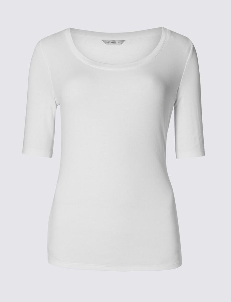 Saf Pamuklu Yarım Kollu T-Shirt