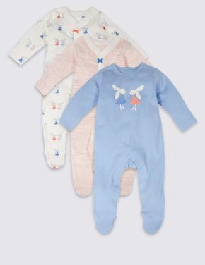 3'lü Desenli Saf Pamuklu Tulum Pijama
