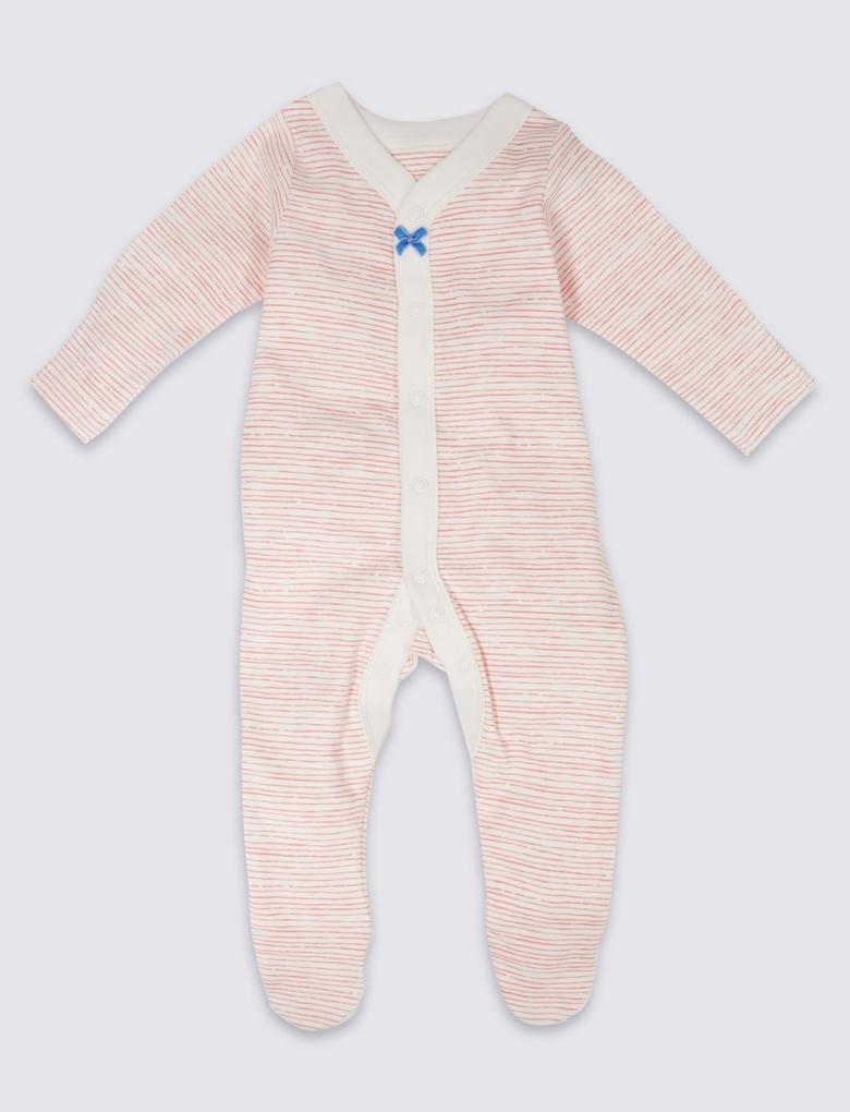 Turuncu 3'lü Desenli Saf Pamuklu Tulum Pijama
