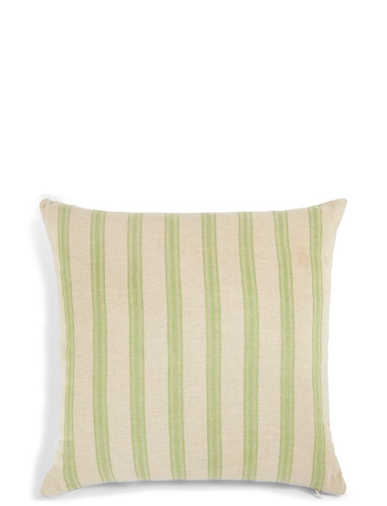 Ev Yeşil Çizgi Desenli Keten Yastık