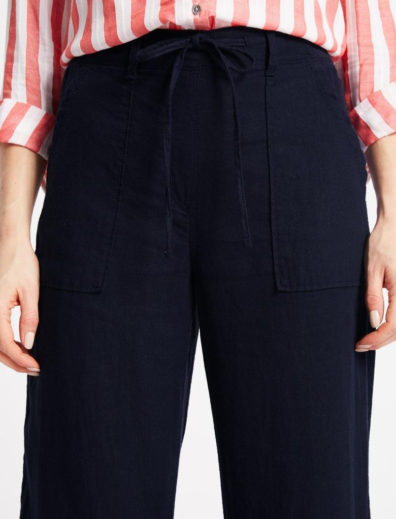Keten Karışımlı Wide Leg Pantolon