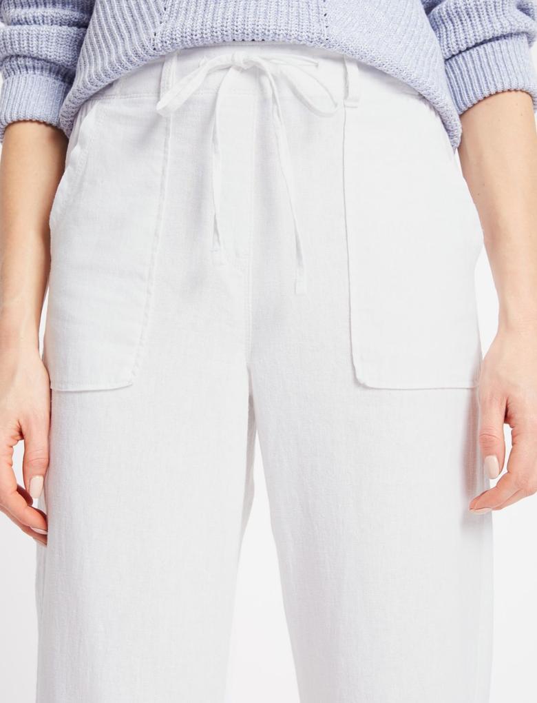 Beyaz Keten Karışımlı Wide Leg Pantolon