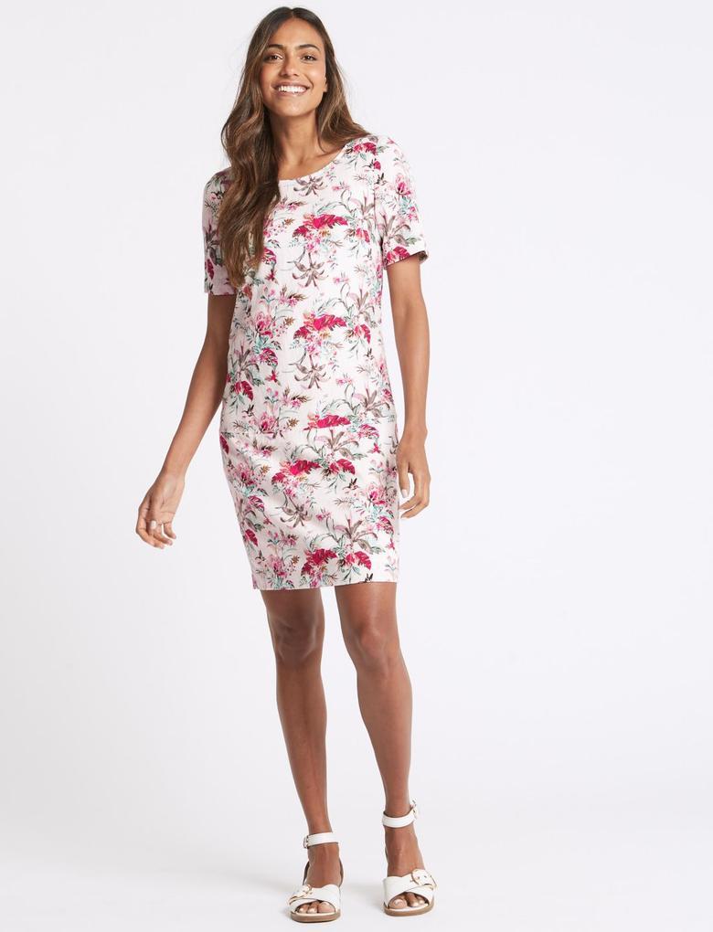 Keten Karışımlı Çiçek Desenli Elbise