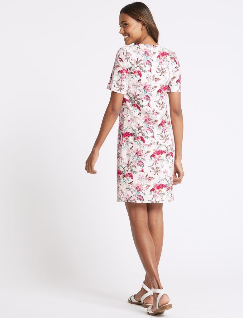 Bej Keten Karışımlı Çiçek Desenli Elbise