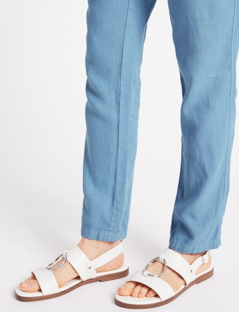 Mavi Keten Karışımlı Pantolon