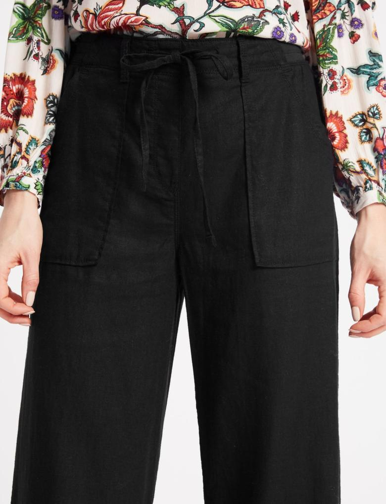 Siyah Keten Karışımlı Wide Leg Pantolon