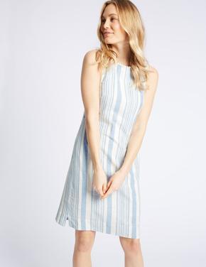 Keten Karışımlı Çizgili Elbise