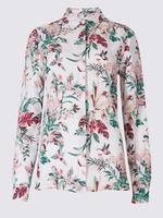 Keten Karışımlı Çiçek Desenli Gömlek