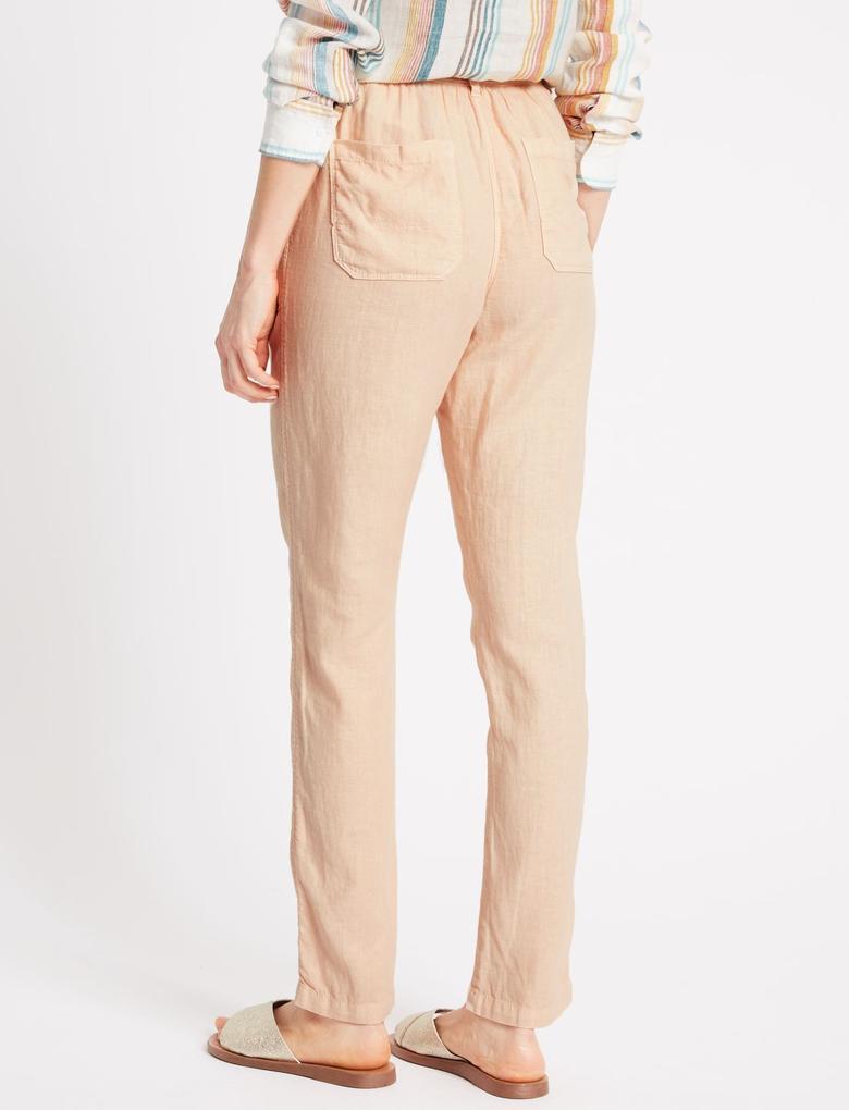 Pembe Keten Karışımlı Pantolon