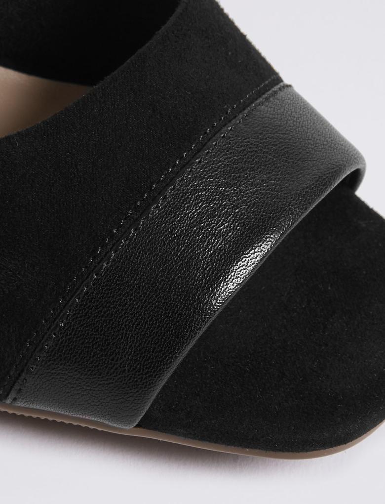 Siyah Açık Burunlu Topuklu Ayakkabı