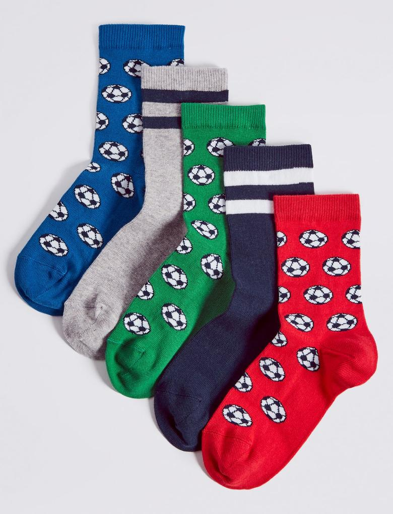 5'li Pamuklu Puantiyeli Çorap