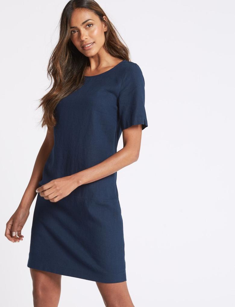 Keten Karışımlı Tunik Elbise