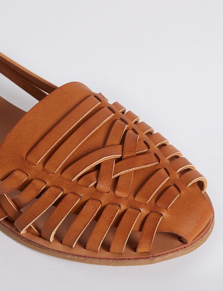 Bej Düz Tabanlı Açık Ayakkabı