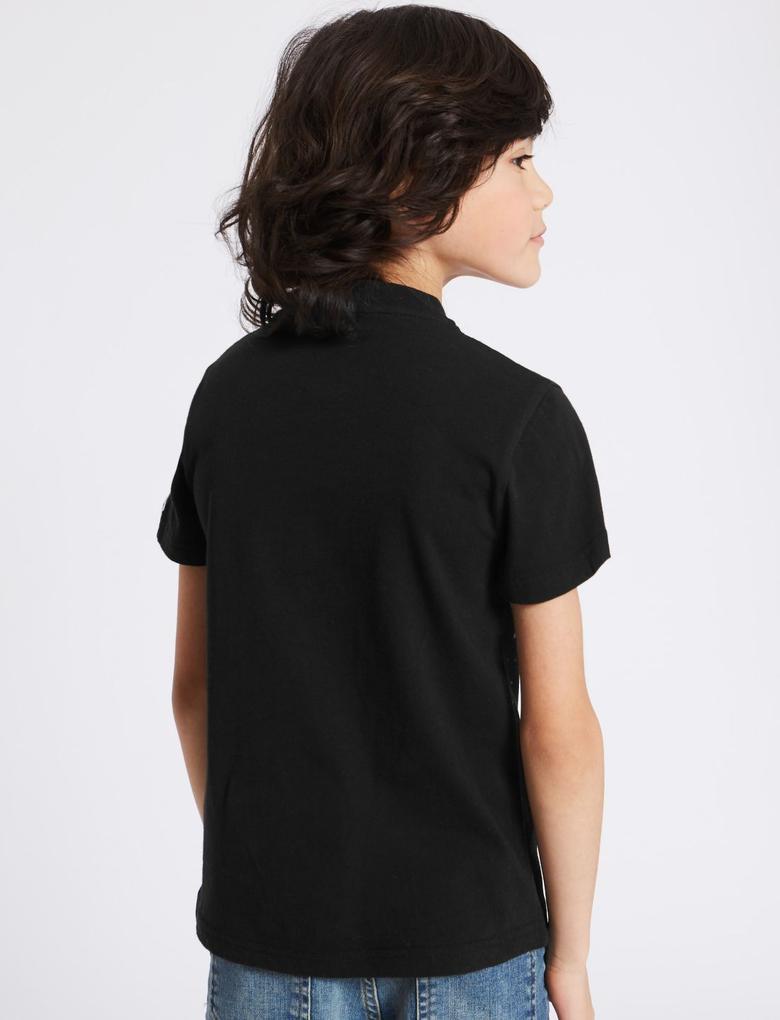 Siyah Darth Vader Star Wars™ Desenli Kısa Kollu T-Shirt