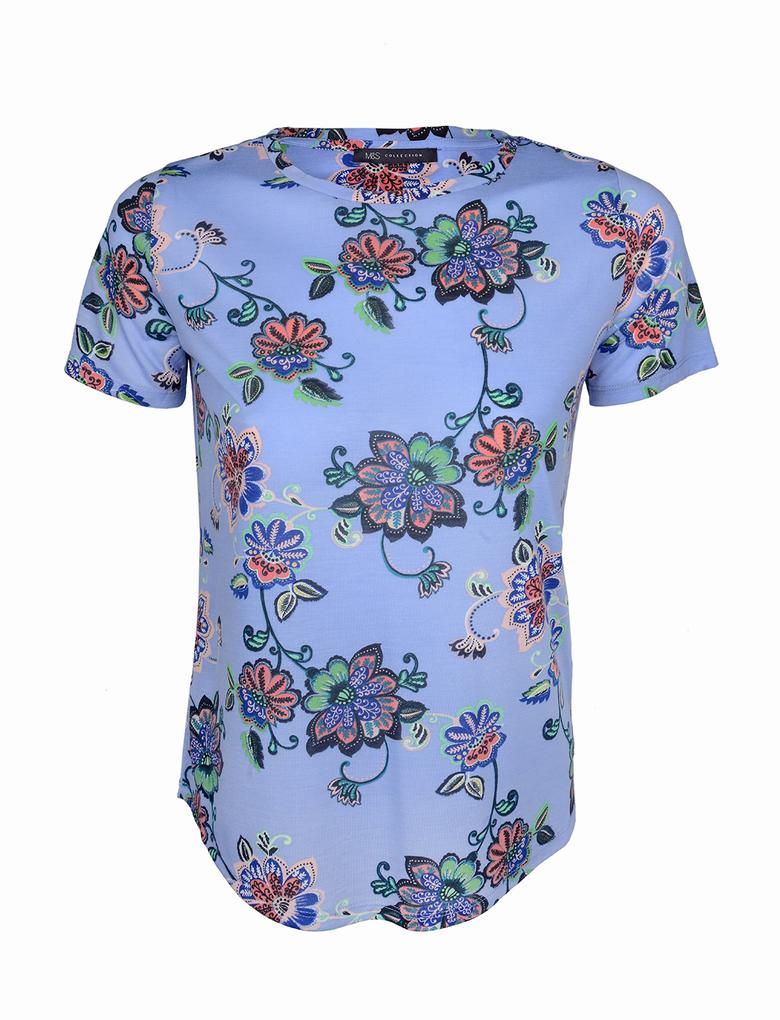 Kadın Mavi Kısa Kollu Desenli T-Shirt