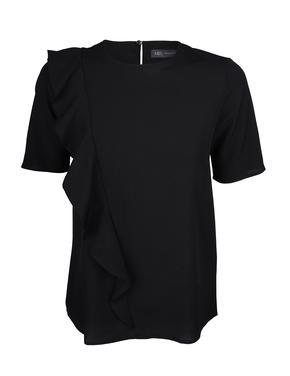 Siyah Fırfır Detaylı Bluz