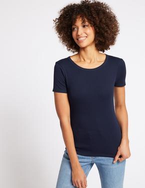 Kadın Lacivert Saf Pamuklu Kısa Kollu Yuvarlak Yaka T-Shirt