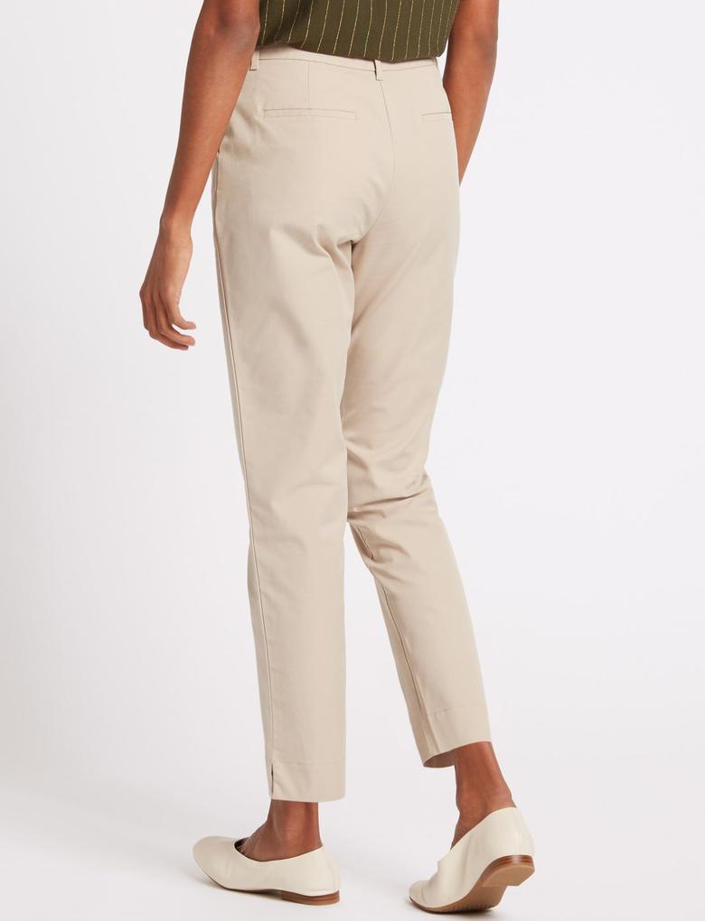 Renksiz Pamuklu Straight Leg Chino Pantolon