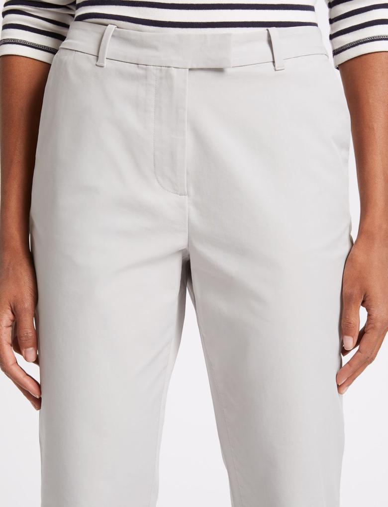 Gri Pamuklu Straight Leg Chino Pantolon