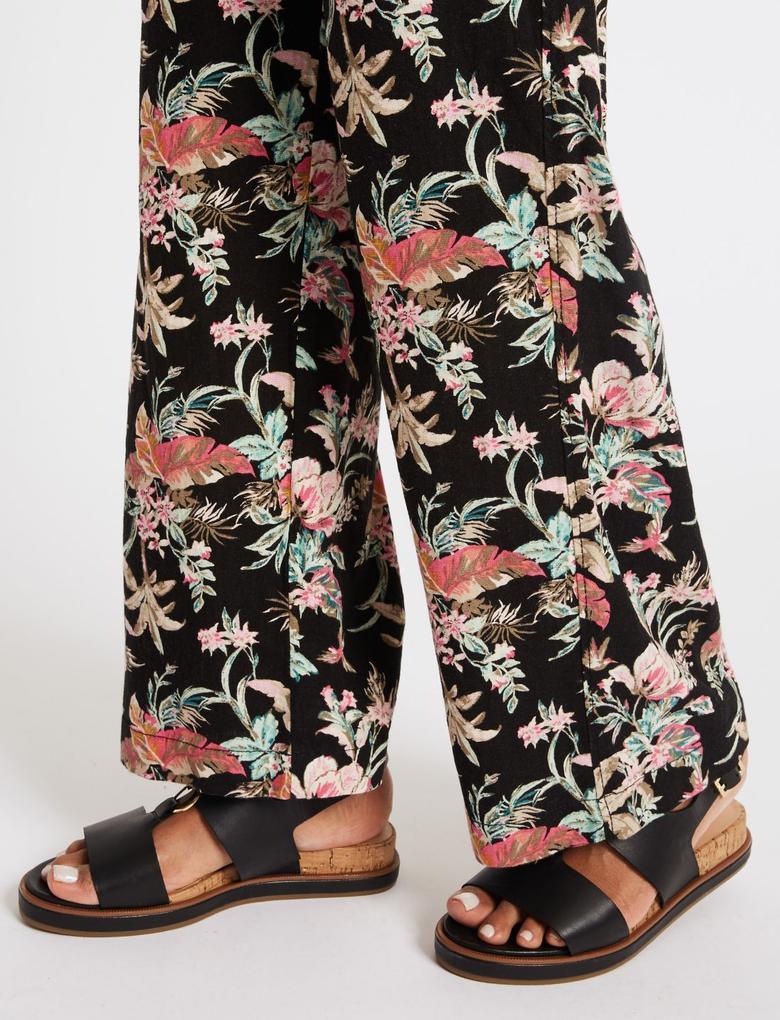 Desenli Keten Pantolon