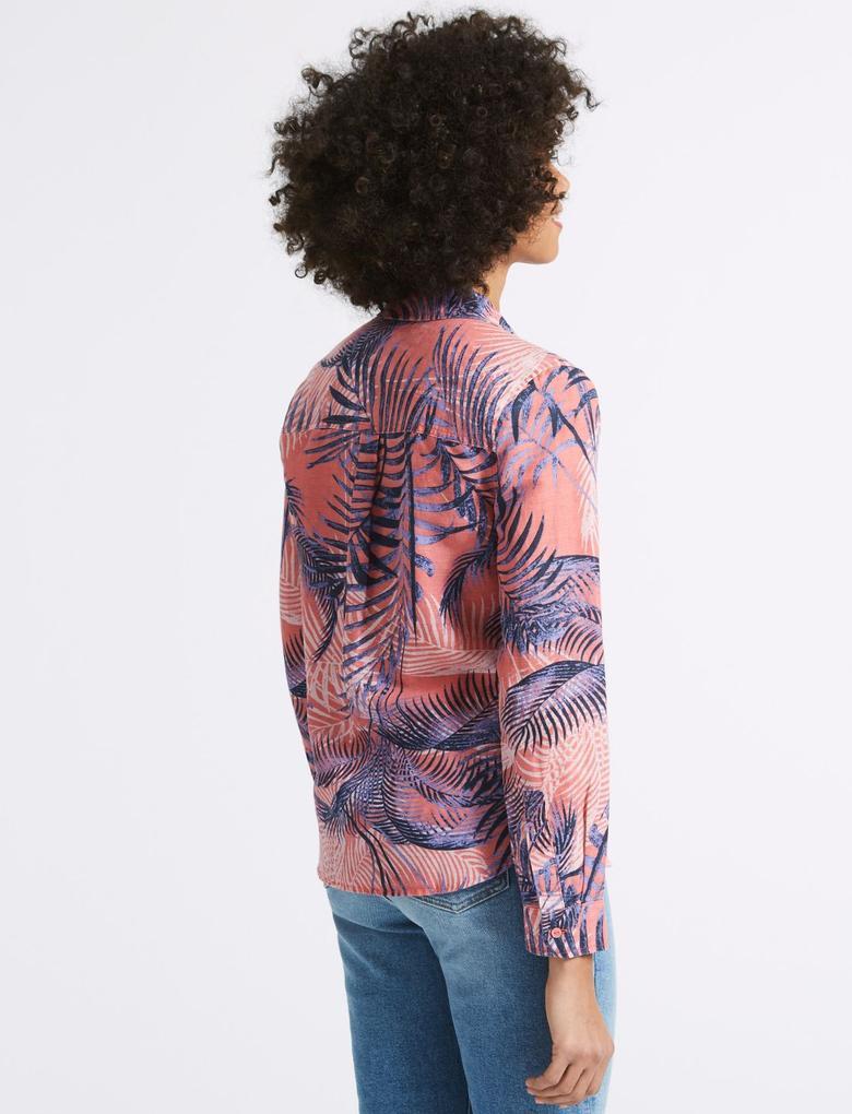 Pembe Desenli Uzun Kollu Keten Gömlek