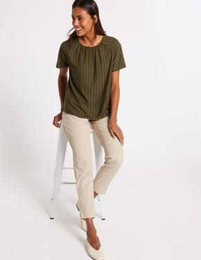 Kadın Renksiz Pamuklu Straight Leg Chino Pantolon