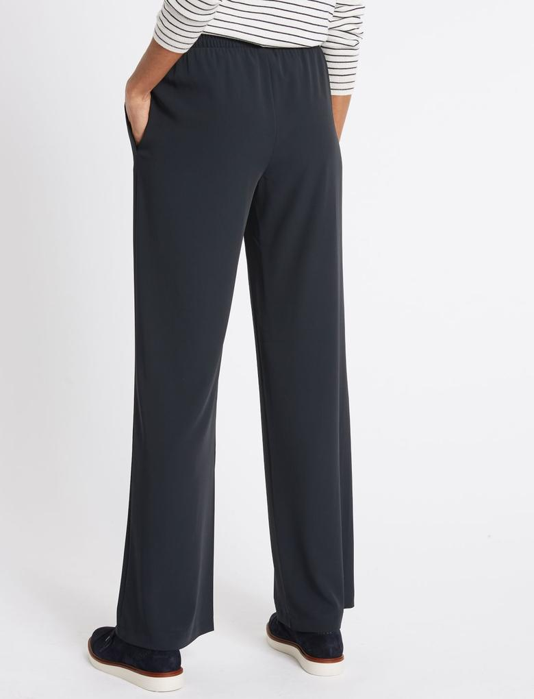 Lacivert Elastik Belli Wide Leg Pantolon