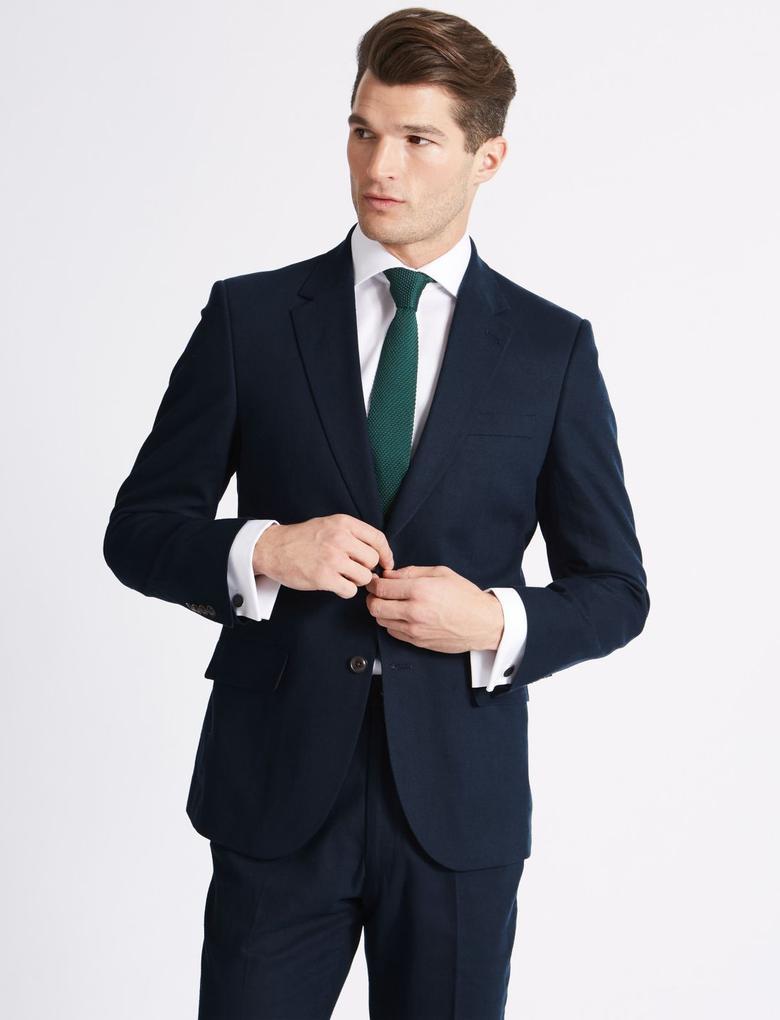 Erkek Lacivert Keten Karışımlı Regular Fit Ceket