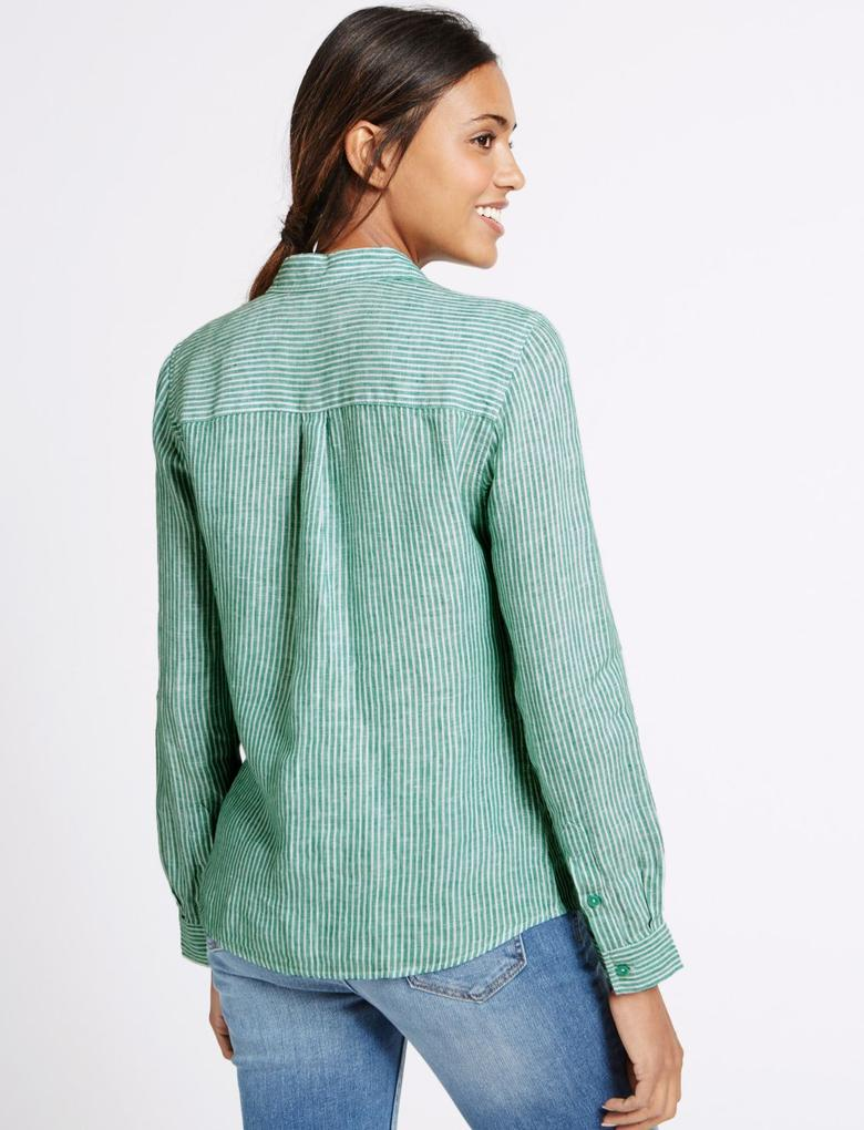 Yeşil Uzun Kollu Keten Gömlek