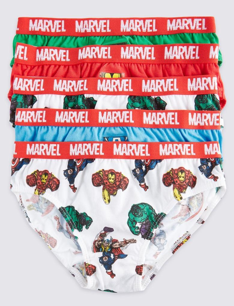 5'li Saf Pamuklu Marvel™ Desenli Brief Külot