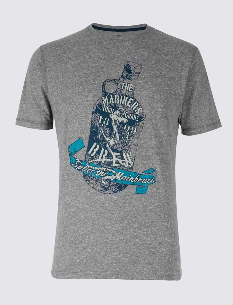 Desenli Kısa Kollu T-Shirt