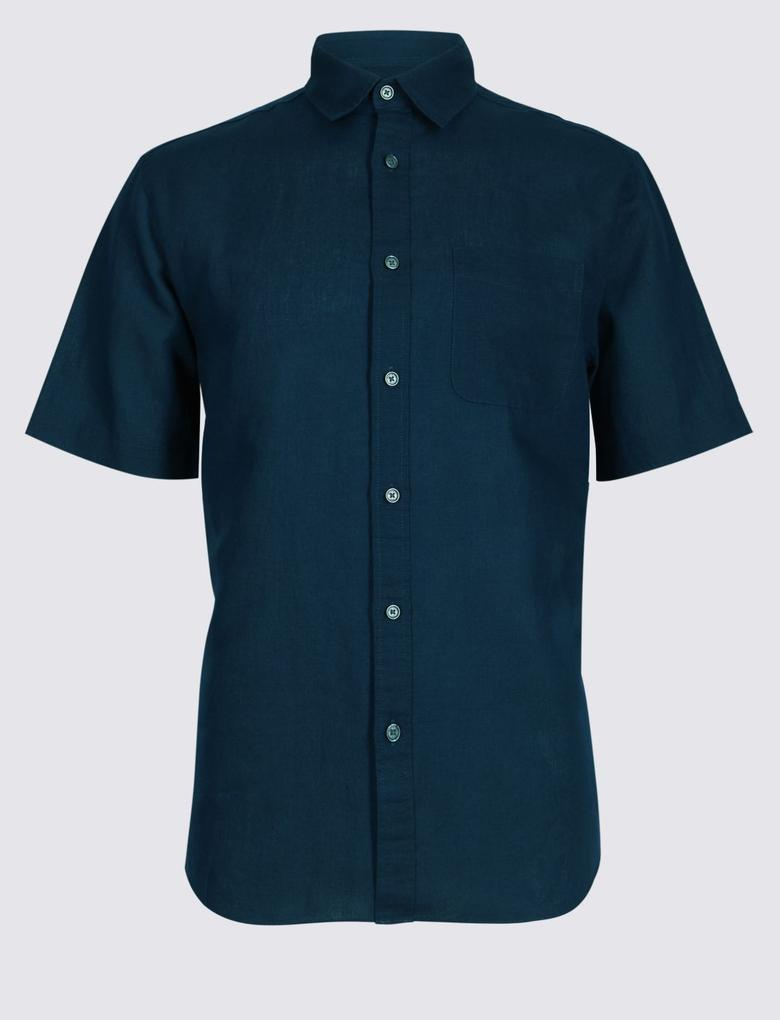 Lacivert Keten Karışımlı Cepli Gömlek