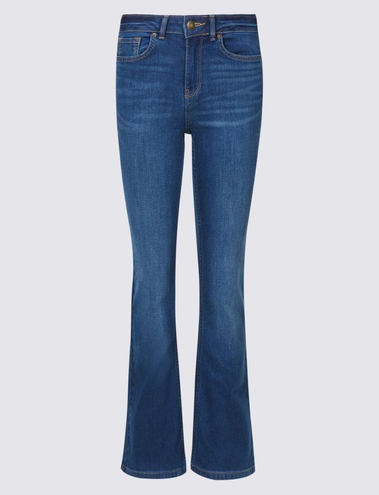 Mavi Orta Belli Slim Bootcut Jean  Pantolon
