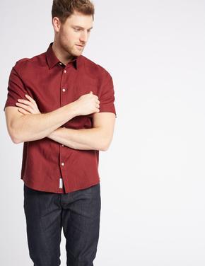 Keten Karışımlı Cepli Gömlek