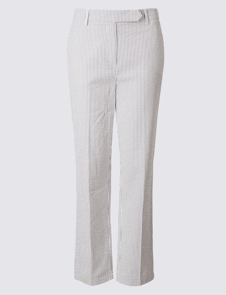 Lacivert Saf Pamuklu Çizgili Pantolon