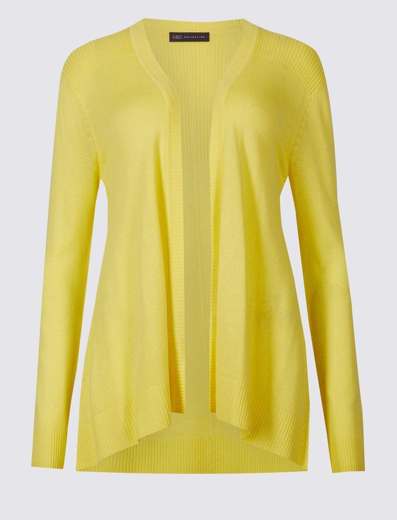 Sarı Keten Karışımlı Uzun Kollu Hırka