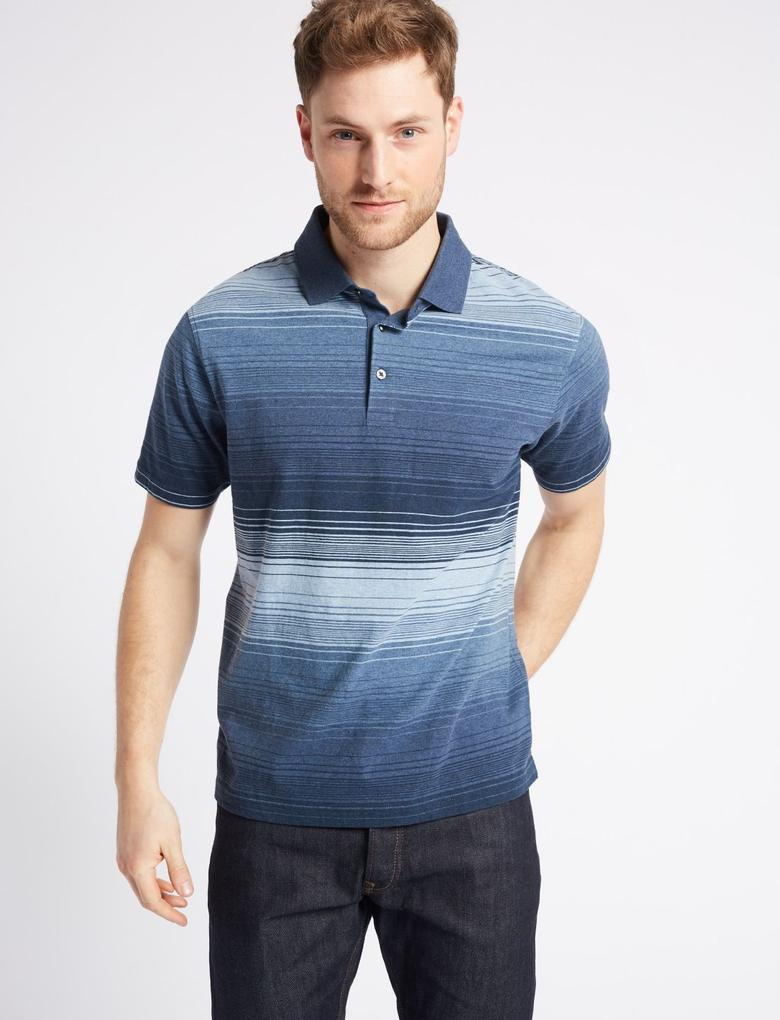 Mavi Saf Pamuklu Çizgili Polo Yaka T-Shirt